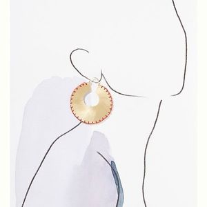 Anthropologie Jewelry - Anthropologie Julie stitched hoop earring